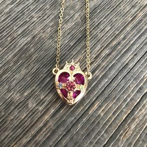 NWOT pink heart and crown paste stone necklace